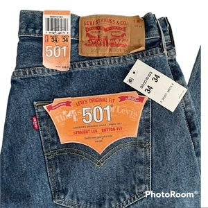 NWT Levi's 501 Button Fly Straight Leg Jeans 34x34